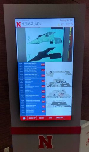 Union kiosk showing event schedule and union maps