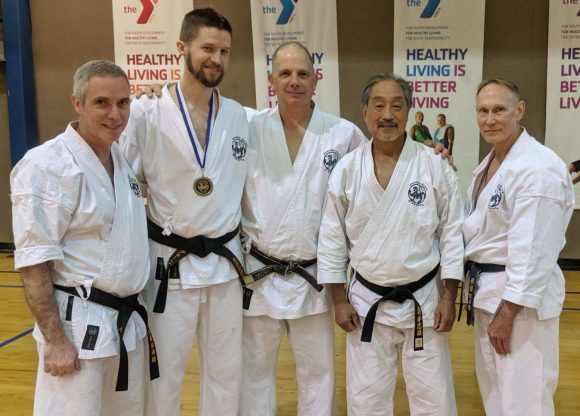 UNL SKA Nidan Greg Tunink, 2018 & 2019 Memphis Jiyu Kumite Tournament Champion, with Godans Bobby Bird, David Altman, John Teramoto, and Rob Clark