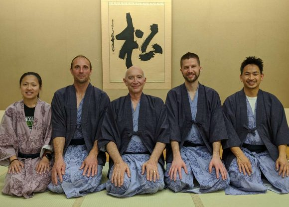 UNL black belts with Kansas City Yodan Mike Lyon in the Yumoto Fujiya Hotel Pine Room in Hakone during the Midwest 2019 Japan Trip
